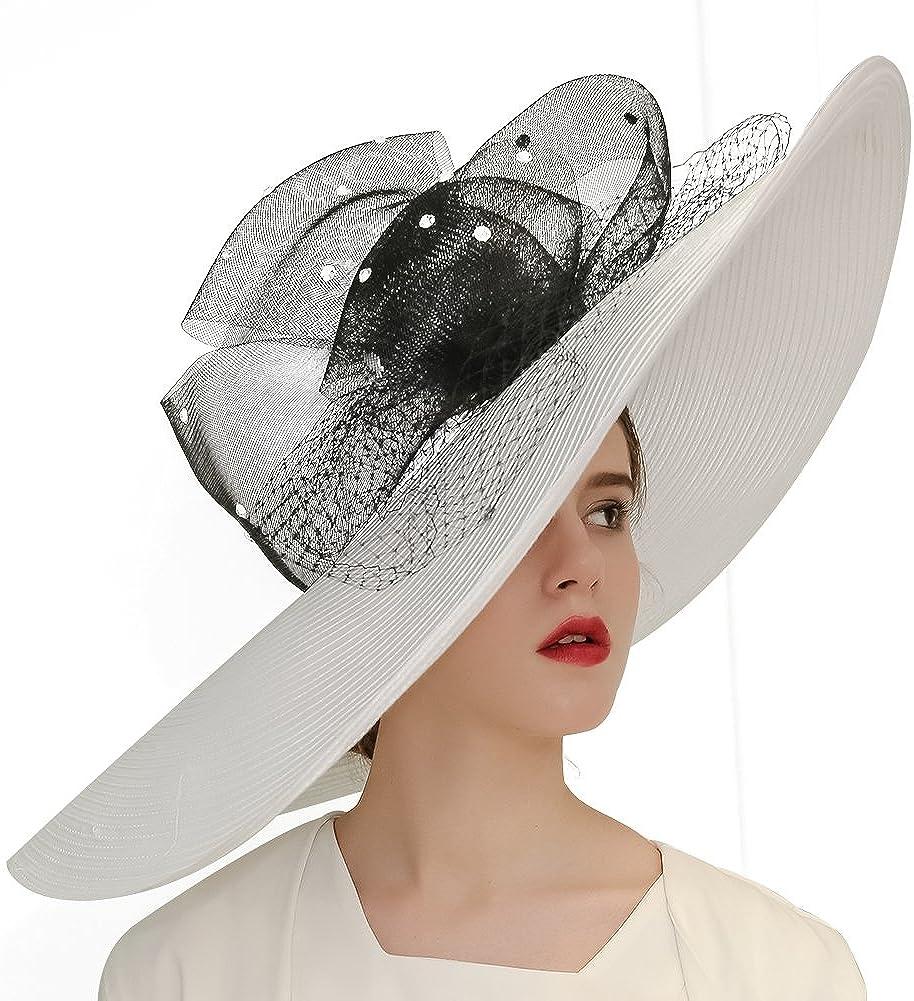 KUEENI Women Church Hats Designer Derby Hat Lady Wide Brim Sun Hats