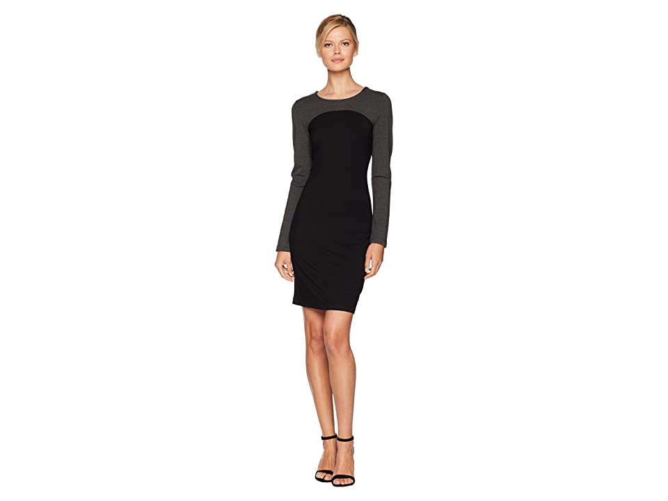 Karen Kane Color Block Sheath Dress (Black/Heather Grey) Women