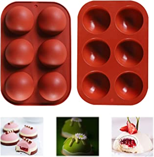 (2 pack) 6 Holes Silicone Mold Bakeware for Chocolate bombs, Cake, Jelly, Baking DIY, Pudding, Handmade Soa...
