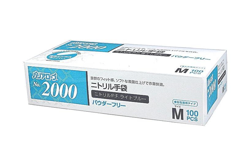 審判寸法期限切れ【ケース販売】 バリアローブ №2000 ニトリルP.F.ライト ブルー (パウダーフリー) M 2000枚(100枚×20箱)