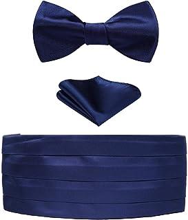 Enlision Men's Formal Paisley Self Bow Tie & Cummerbund & Pocket Square Set