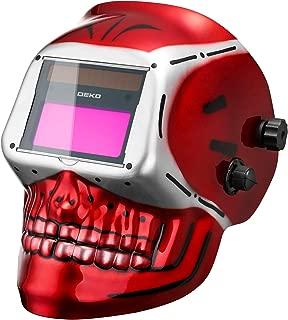 DEKOPRO Welding Helmet Solar Powered Auto Darkening Hood with Adjustable Shade Range 4/9-13 for Mig Tig Arc Welder Mask (Skull Design)