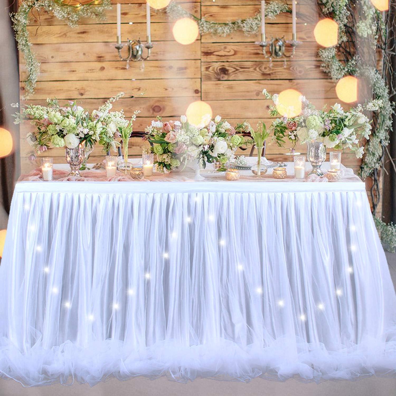 NSSONBEN Bianco Tulle Gonna da Tavolo Tutu Gonne da Tavolo per Banchetto Nuziale Decorazione Casalinga Baby Shower Matrimonio Compleanno 3Yard//9ft//L275cm*H77cm