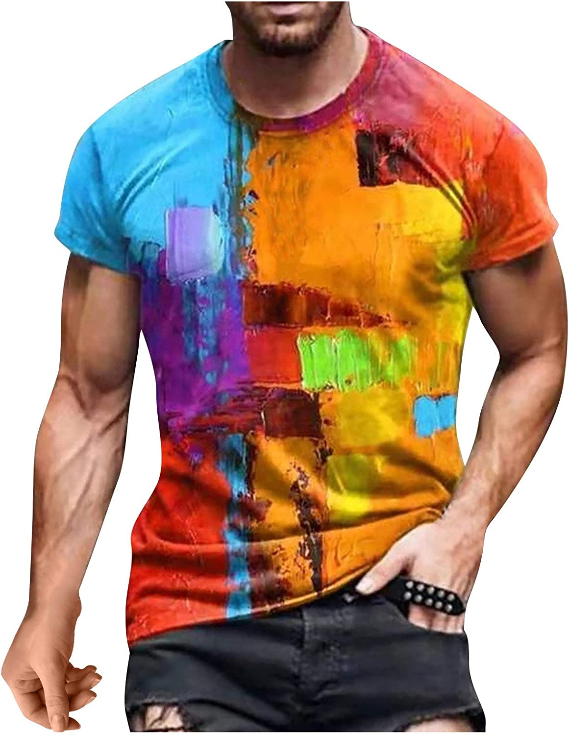 FUNEY Men's Casual Summer Shirts Fashion 3D Print Tie Dye Crewneck Short Sleeve T-Shirt Big and Tall Graphic Tees for Men