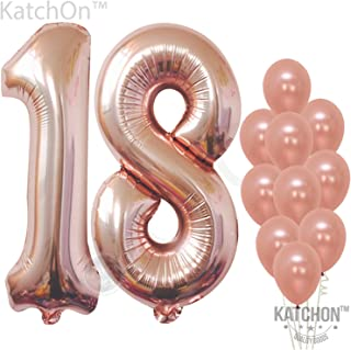 Rose Gold 18 Balloon Numbers – Large, Pack of 12   1 and 8 Birthday Number Balloon   Rose Gold 18th Birthday Party Decorations Supplies Kit   foil Mylar and Latex Balloons   18 Year Old