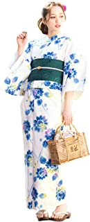 (ソウビエン)レディース浴衣セット 白系 アイボリー 青 向日葵 ひまわり 花 綿 女性 花火大会