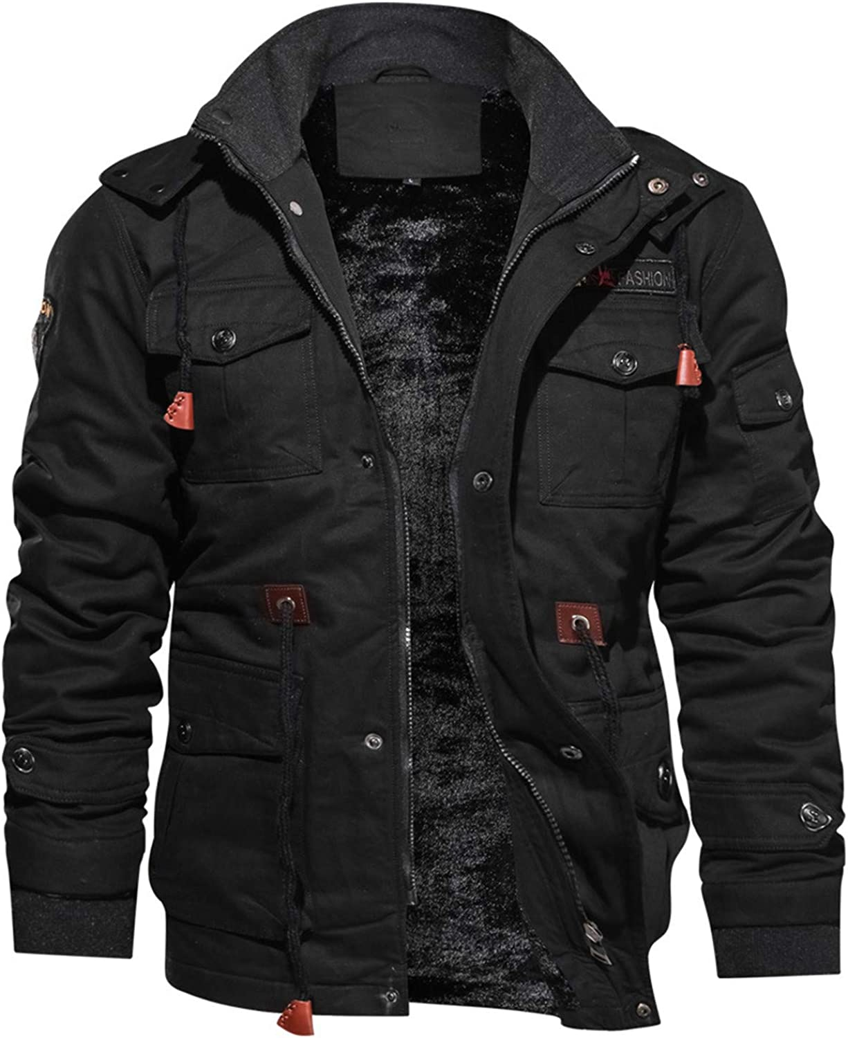 Soluo Men's Winter Fleece Lined Denim Jackets Warm Jeans Coat Outerwear with Removable Hood (Black,3X-Large)
