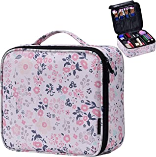 Joligrace Makeup Train Case Cosmetic Bag Professional Make Up Storage Box Travel Organizer with Removable Dividers & Brush Section for Women Girls Pink Floral