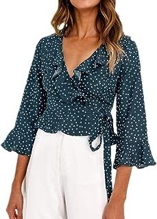 Zegeey Women's Unique V Neck Sexy Ruffles Blouse Shirt Long Sleeve Polka Dot Crop Tops