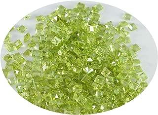Joyas Plata 1PC Genuine Green Peridot Faceted 3X3 mm Square Shape handsome Quality Loose Gems JP- STPERFCSQ-3X3-us