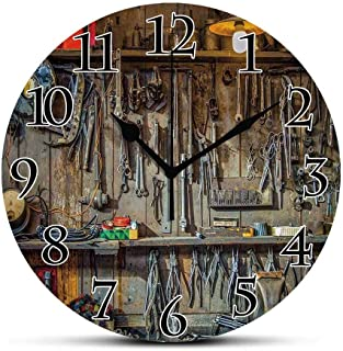 BCWAYGOD Silent Wall Clock,Man Cave Decor,Vintage Tools Hanging On A Wall in A Tool Shed Workshop Fixing Equipment Non Tic...