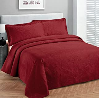 Elegant Home Beautiful Over Sized Solid Color Embossed Floral Striped 3 Piece Coverlet Bedspread (King/Cal-King, Red)