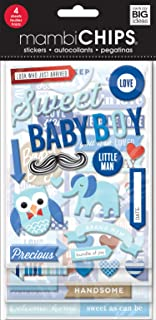 me & my BIG ideas mambiChips Chipboard Stickers - Baby Boy Theme - Blue & Multi-Color - Great for Projects, Scrapbooks & Albums - 4 Sheets, 63 Stickers Total