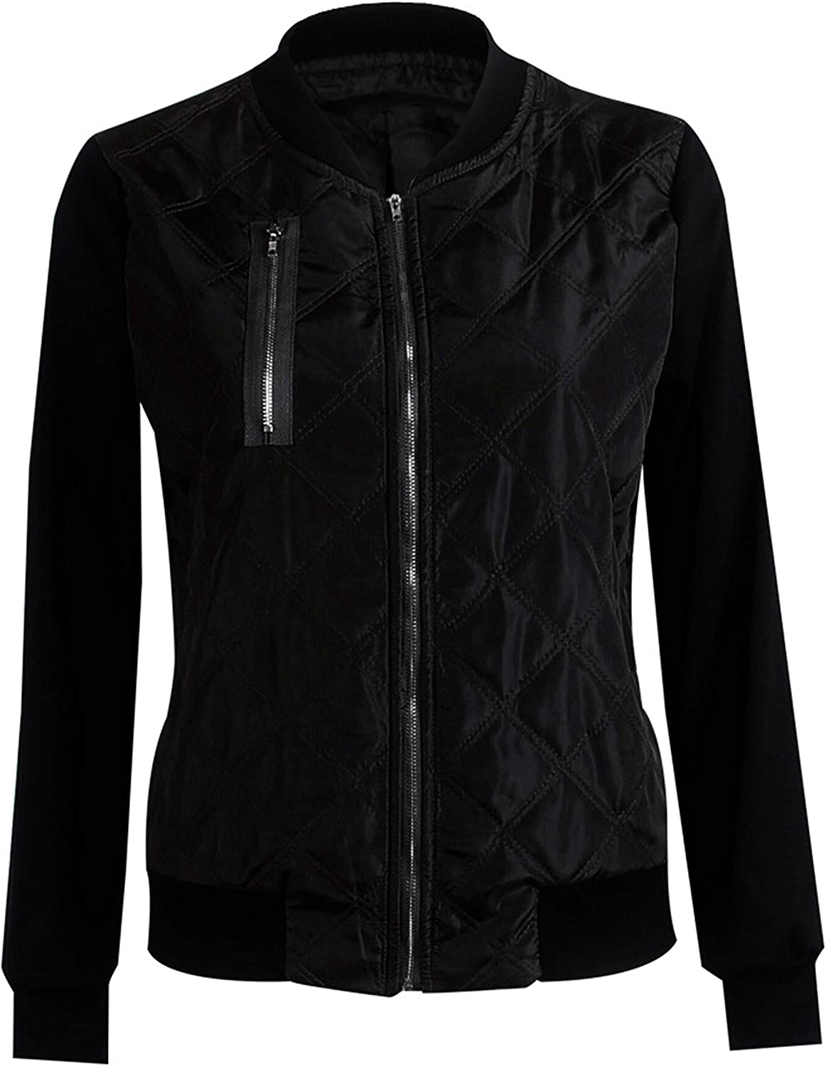 Sales Yeokou Women's Zip Up Splicing Collar Bombe Casual Quilted Round Fresno Mall
