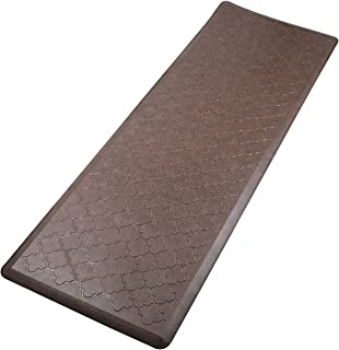 Pauwer Anti Fatigue Comfort Mats for Kitchen Floor Standing Desk Thick Cushioned Kitchen Rug Runner Waterproof Stain Resistant Comfort Standing Mat (Brown-Quatrefoil, 20