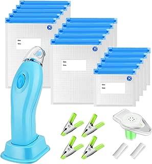 Sous Vide Bags Kit Handheld Vacuum Sealer BPA Free 15 Reusable Vacuum Sealer Bags 1 Vacuum Wine Stopper 2 Sealing Clips 4 Sous Vide Clips for Food Preservation Kitchen Homemaker (Blue)