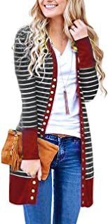 Women's Snap Button Down Stripe Contrast Color V Neck Long Sleeve Cardigan Sweater Coat
