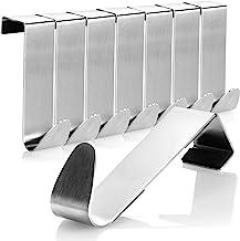 COM-FOUR® 8x Roestvrijstalen deurhaken - Kledinghaak met schuimrubberbescherming - Kapstok voor garderobedeur en kamerdeur...