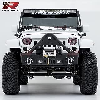 Razer Auto Black Textured Rock Crawler Stinger Front Bumper With Fog Lights Hole & 2x D-Ring & Winch Plate (Black) for 07-17 Jeep Wrangler JK