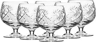 6 Russian CUT Crystal Cognac Snifters 300ml/10oz Hand Made