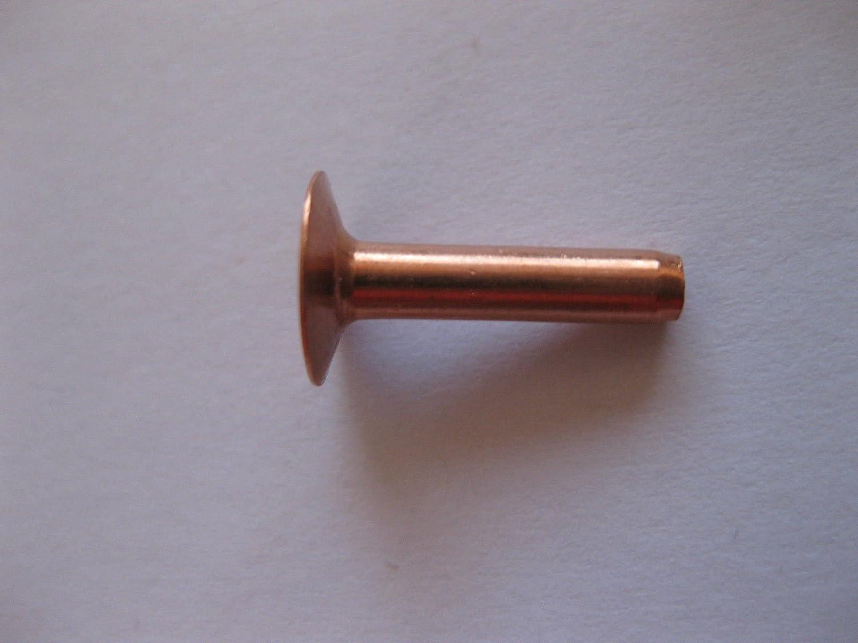 number in pack 10 Copper hose saddlers rivets 10 Gauge x 1//2 with washers leather belt bag crafts