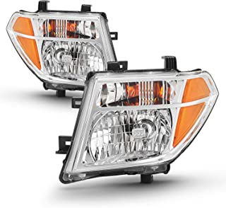 Pair Chrome Headlights Fits 2005-2008 Frontier 2005-2007 Pathfinder [Halogen Models] Replacement Left + Right