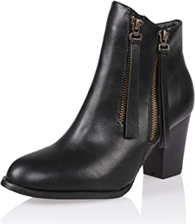 Women's Fashion Chunky High Heel Ankle Boot Shoe