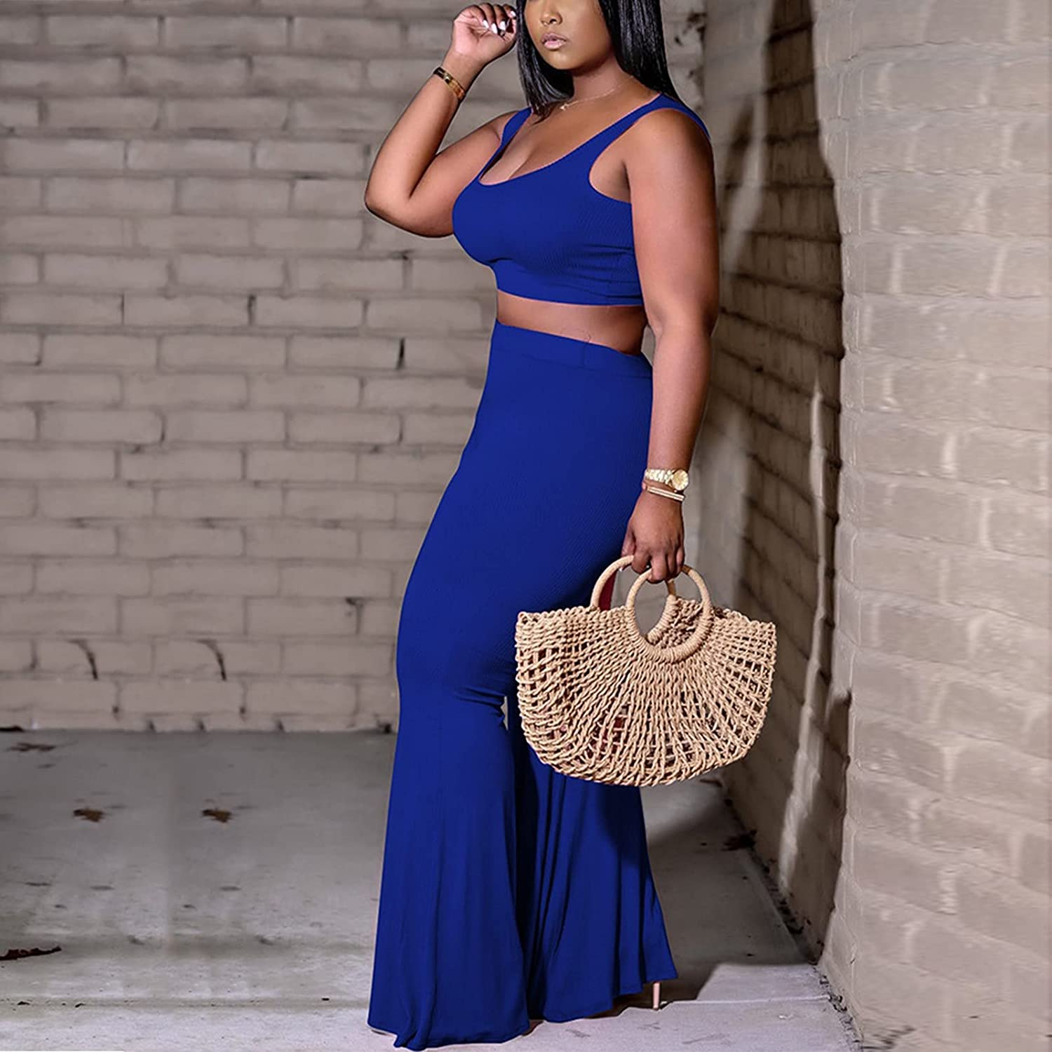 Maryia Womens Sexy Plus Size Crop Tops and Flare Pants Outfits Set Two Piece Solid Casual Bodycon Jumpsuits
