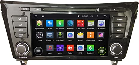 KUNFINE Android 8.0 Otca Core Car DVD GPS Navigation Multimedia Player Car Stereo for Nissan Qashqai/X-Trail 2014 Radio Head Unit Steering Wheel Control with 3G WiFi Bluetooth Free Map Update 8 Inch