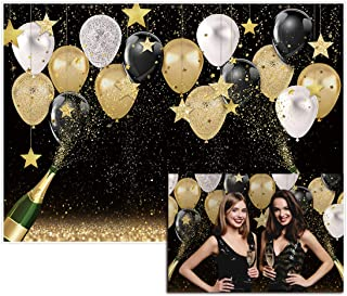 Allenjoy 7x5ft Fabric Black Golden Backdrops Party Decorations Happy Birthday Banner Favors Balloon Glitter Stars Champagn...
