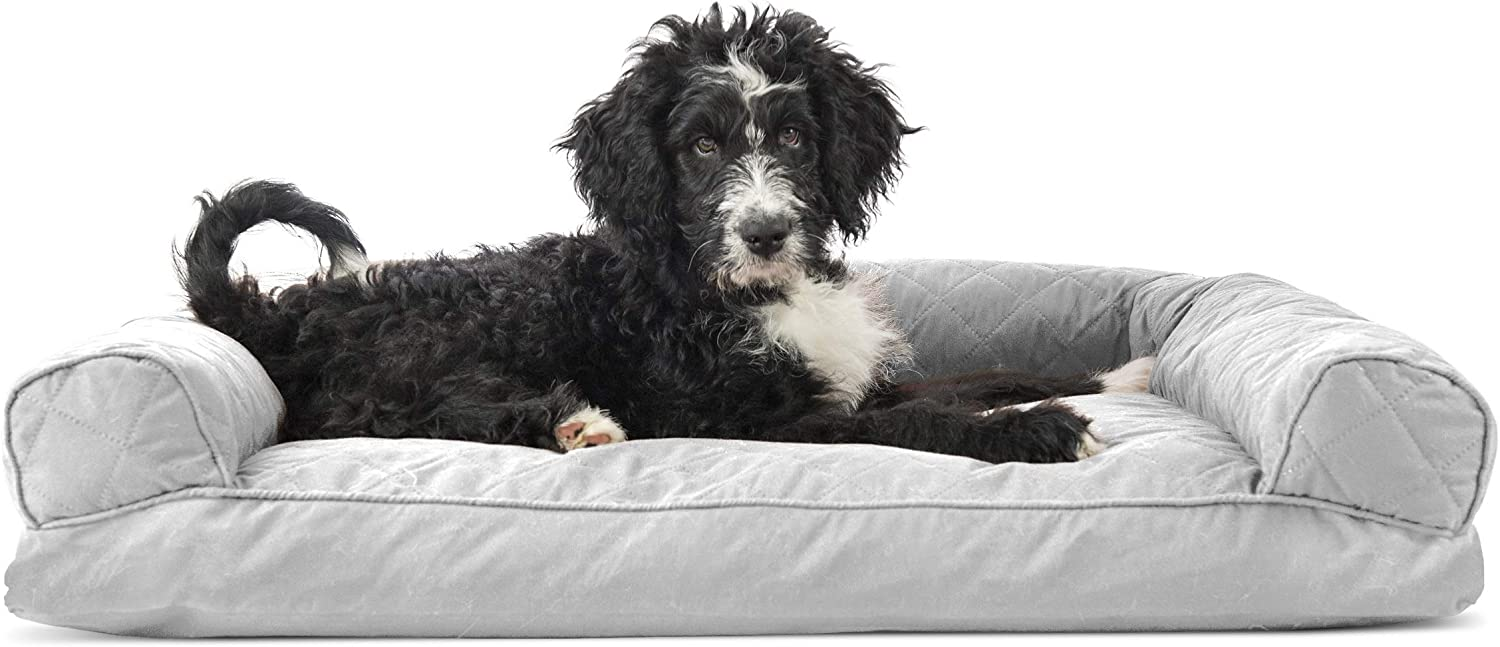 Furhaven Pet Dog Bed Louisville-Jefferson County Mall - Cushion Quilted Sofa-S Pillow Max 73% OFF Traditional