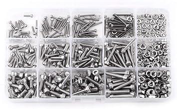 480-delige set (M2, M3, M4) uit een selectie van binnenzeskantschroeven met moeren, met opbergdoos, 304 roestvrij staal