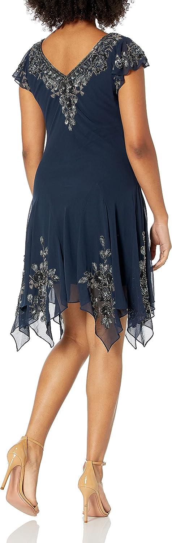 J Kara Women's Petite Hanky Hem Short Cocktail Dress
