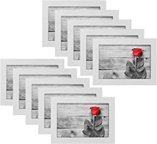 A Selected 10 Packs 5x7 Picture White Wood Frames with Picture Hanging Kits for Wall Picture and Table Desk Top