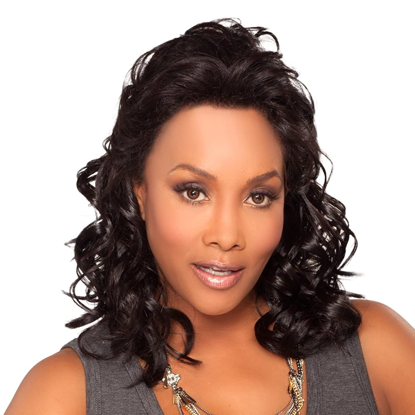 Vivica A. Fox JOANNA-V Synthetic Fiber, Deep Lace Front Wig in Color 1B