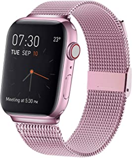 MCORS Compatible with Apple Watch Band 38mm 40mm,Stainless Steel Mesh Metal Loop with Adjustable Magnetic Closure Replacement Bands Compatible with Iwatch Series 5 4 3 2 1 Rose Gold