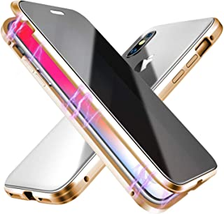 ESTPEAK Anti-peep Magnetic Case for iPhone XR,Anti Peeping Magnetic Adsorption Double-Sided Privacy Screen Protector Clear Back Metal Bumper Antipeep Anti-Spy Phone Cases Cover for iPhone XR-Gold