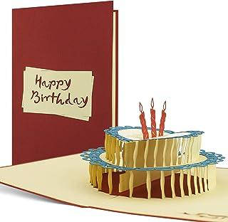 G06 Tarjeta de felicitación para cumpleaños 30 40 50 y 60 años de alta calidad hecho a mano disegno 3D desplecable con torta y texto en inglés