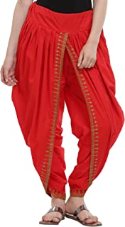 Nika Women's Cotton Aari Embroidered Dhoti Salwar by Kaanchie Nanggia (DH932_Red_Freesize)