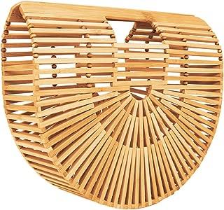 Bamboo Handbag Tote Bag by Handmade Straw Bag for Women Natural Basket Bag for Summer Beach
