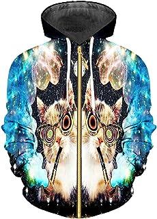 Animal Cat Zip Men Funny Print Galaxy Space 3D Printed Sweatshirts Hoodie Hip Hop Long Sleeve