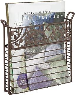 Revistero de pared peri/ódicos de malla sala de estar libros soporte de pared para oficina Blanco Tama/ño libre rec/ámara