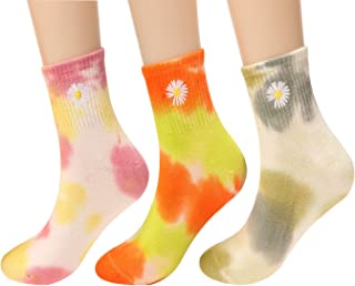 Galsang 4 Pairs Womens Cotton Multicolor Tie-Dye Casual Crew Sock Size 5-11 A158