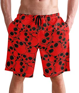 FFY Go Beach Shorts, Skull Vintage Printed Mens Trunks Swim Short Quick Dry with Pockets for Summer Surfing Boardshorts Ou...