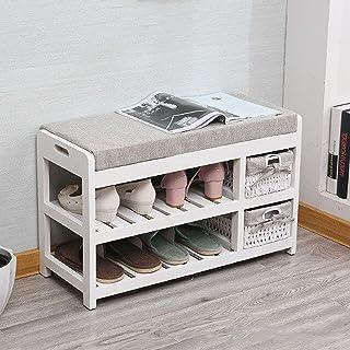 LJKD Support de Rangement pour Chaussures à 2 Niveaux, Banc de Rangement pour Chaussures en Bois avec Coussin en Tissu, Su...