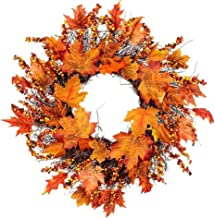 Autumn Wreath Wreath Autumn Fall Maple Leaves Garlands Artificial Berry Pumpkin Decoration Hanging Wall Decoration for Hal...