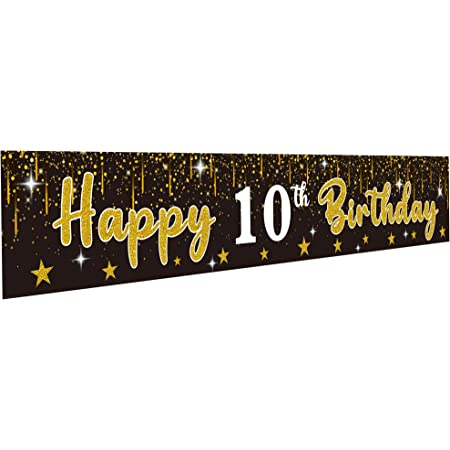 Large Black and Gold Birthday Backdrop Supplies 9.8x1.6ft 10 Year Old Bday Yard Sign Party Decorations N+A Ufocusmi Happy 10th Birthday Banner