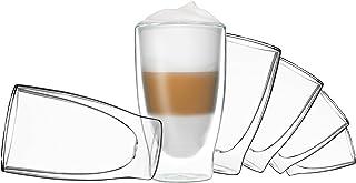 DUOS 6 x 400 ml dubbelväggiga glas - cocktail termoglas - set med flytande effekt, för latte macchiato, cappuchino, te, ju...