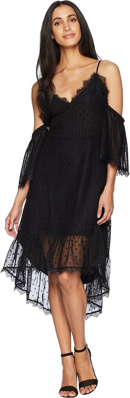 MINKPINK Women's Dark Romance Swiss Dot Cold Shoulder Dress