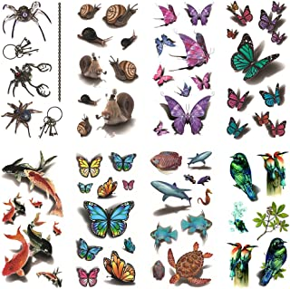 67f1f0201 Oottati 8 Sheets Assorted Temporary Tattoo 3D Multiple Fish Butterfly Birds  Spider Sea Turtle